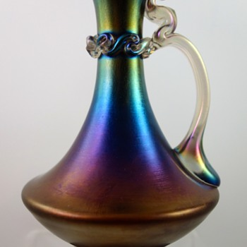 Early Loetz Rubin matt Iris ewer, PN I-6649, ca. 1896 - Art Glass