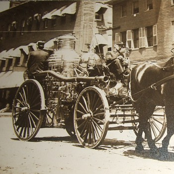 RPPC of Fire Pumper in a parade - Photographs