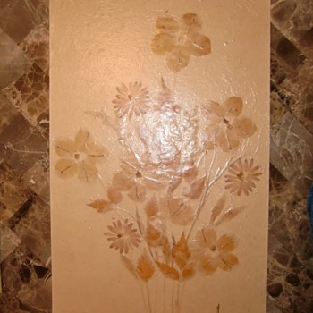 Nice flower painting made with real dried leaves and petals