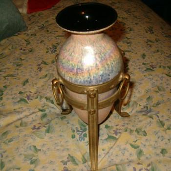 Loetz? Vase In Bronze Stand