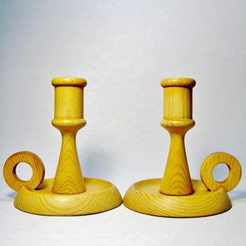 WOODEN CANDLESTICK HOLDERS-SWEDEN