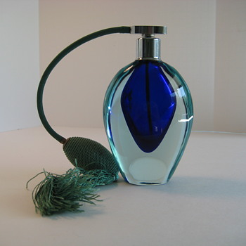 Cobalt blue and aqua Sommerso perfume bottle