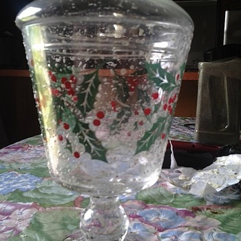 MY FIRST PIECE OF WEST VIRGINIA GLASS SNOWY HOLLY!!!!!!!!! - Christmas