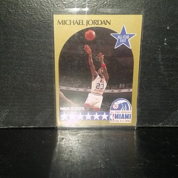 Michael Jordan  Basketball Card (found in a box of old basketball cards).  There's this one, Shaquille O'neal, Hakeem Olajuwon, - Basketball