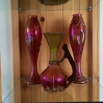 Harrach Iridescent Pair & Kralik Honeycomb Mounted Stag Handle Vases