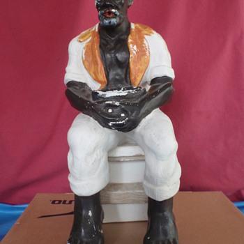Vintage Black / Negro Man Decorative Porcelain Fountain Memorabilia Help - Advertising