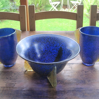 Maria Kirschener Loetz Papillon cobalt vases and bowl - Art Glass