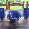 Maria Kirschener Loetz Papillon cobalt vases and bowl