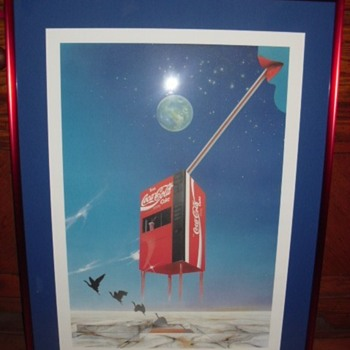 Abstract German Coke Advertising Framed Artwork