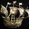 Very Fine Vermeil Handmade Filegree Sailing Ship brooch