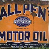 RARE ALL PEN Motor Oil Double Sided Porcelain Sign One of a Kind? Permit 10!