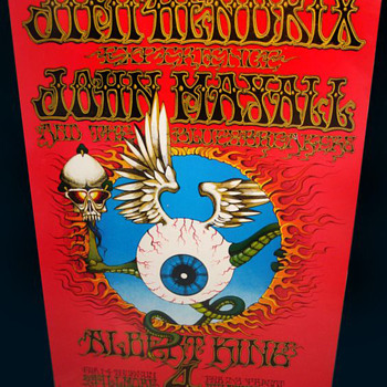 #7 ~ Original 1968 Jimi Hendrix Flying Eyeball Fillmore West Poster - Music Memorabilia