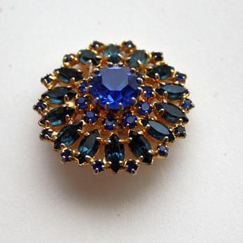 Blue sunburst brooch - Costume Jewelry
