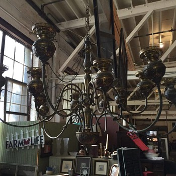 Antique Oil Chandelier - Lamps