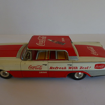 1960's Taiyo Japan tin friction car Coca -Cola Baby!! - Coca-Cola