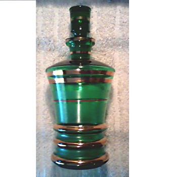 "Art Deco Emerald Green 8"" Decanter / 22-24 kt Gold Band Accents / Circa 1930's - Art Glass"