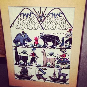 South American Llama Needlepoint - Folk Art