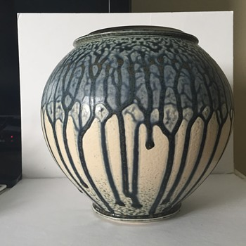 Modern drip glaze art pottery - trees - cant read signature