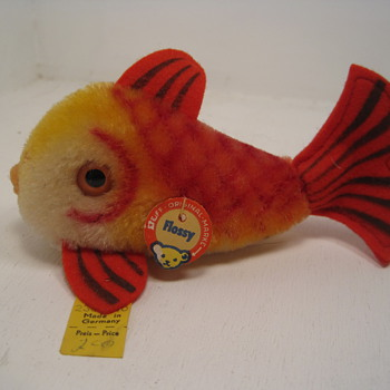 A Swimmingly Beautiful Red, Yellow, and Orange Mohair Steiff Fish  - Dolls