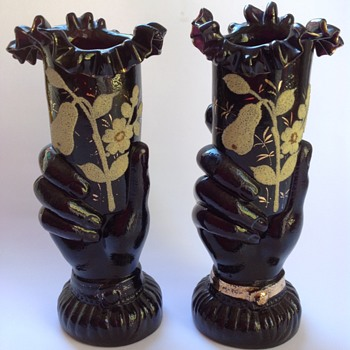 Pair of Victorian black glass hand vases with coralene decoration