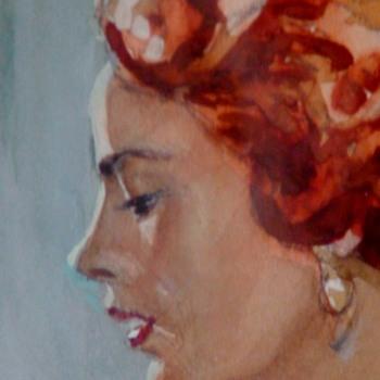 Henry Marcus Moran Watercolor Of a Woman - Visual Art