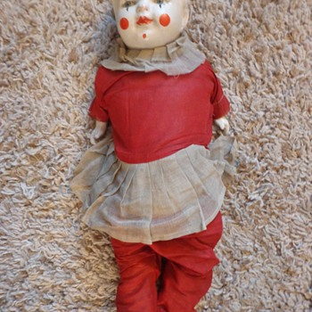 "Vintage R & B 25"" Clown Down - Dolls"