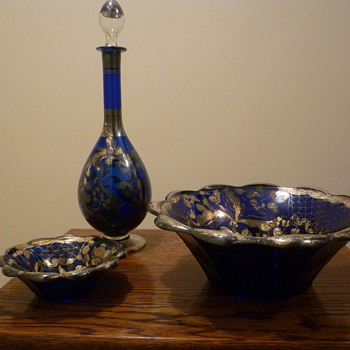Blue glass dessert set