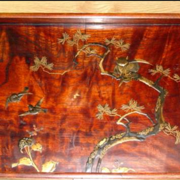 Antique Japanese wood and gold lacquer tray - Asian
