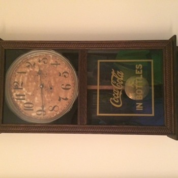 38inch  long x 15 1/2 inch wide wooden wall coca cola clock