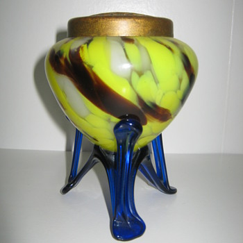 Czechoslovakia Art Deco Cobalt Strutted Mottled Posy Vase 1930's - Art Glass