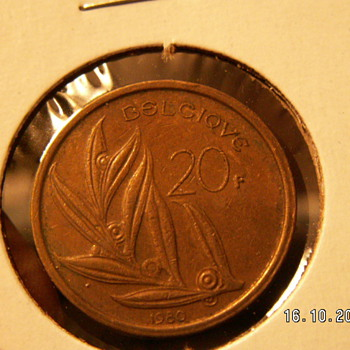 1980 Belgium 20 Francs Belgie Bronze Coin - World Coins