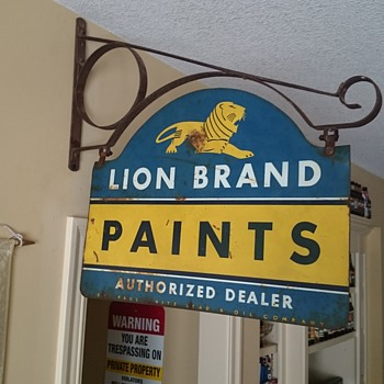 lion brand paints sign I picked in Columbia mo. - Signs