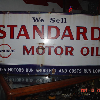 We Sell Standard Motor Oil...Porcelain Sign...Three Colors - Signs