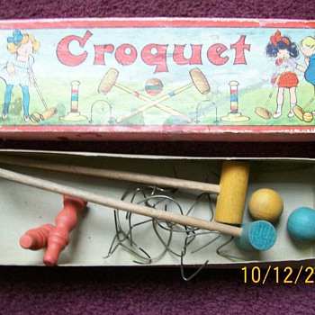 "My Vintage tiny Croquet Set . Mallets 7.5"" Long  - Games"