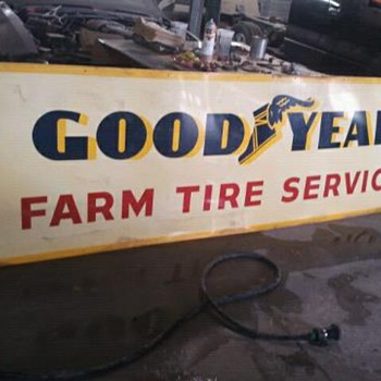 1959 two sided good year farm and tire sign,  - Signs