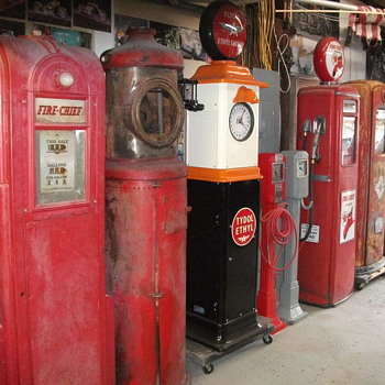 Some of my  collection of gas pumps - Petroliana