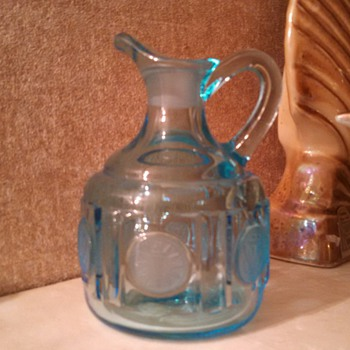 Fostoria Coin Small Cruet in DARK BLUE missing stopper - Glassware
