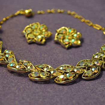 Gold and Gem Necklace and Earrings from my Great-Grandma - Costume Jewelry