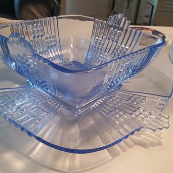 Sapphire electric blue bowl and under plate- art deco need ID - Glassware