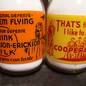 Colorful Two Color War Slogan Milk Bottles..... - Bottles