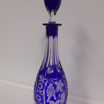 VINTAGE COBALT BLUE CUT TO CLEAR CZECH BOHEMIAN DECANTER - Bottles