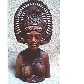 "Teak or Mahogany Bust / 14 "" x 6 1/2""  Marked ""Siwa Bali Indonesia""/ Circa 1950-70"