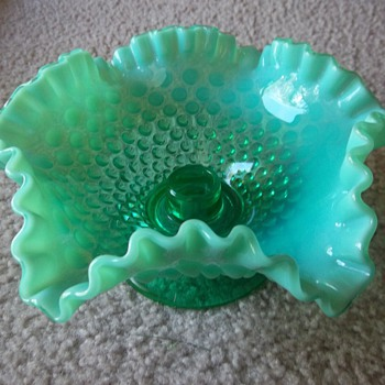 Fenton hobnail Emerald Green Opalescent Candle bowl