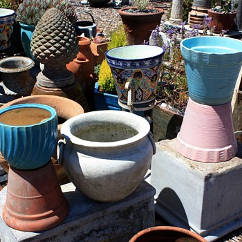 Lots more flower pots and planters plus an amazing pineapple finial - Art Pottery