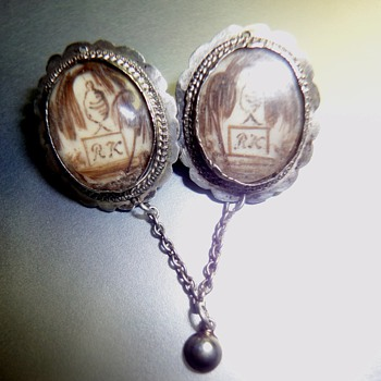 Double Silver Mourning Brooch