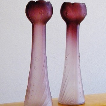 "Art Nouveau Rindskopf Pair Satin Hyacinth Vase 14"" - Art Glass"