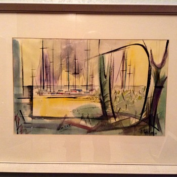 Mid century modern original water color. Harbor scene