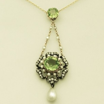 Peridot, Diamond & Pearl Victorian Pendant  - Victorian Era