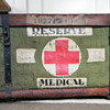 "WWII ""R.F.M.P.  Reserve Medical"" pannier--wicker with canvas"