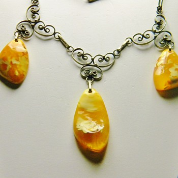 Antique Victorian Baltic Amber 865 Silver Lavaliere Filigree Necklace